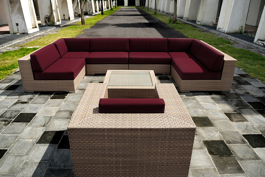 Sectional synthetic wicker furniture